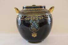 Large enameled pottery cookie jar with lid