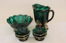 Croesus pattern glass berry set & water pitcher