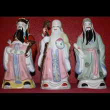 3 Wise God Porcelain Figures Longevity, Prosperity, Happiness - Fu Lu Shou