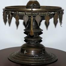 Antique Tibetan Buddhism Bronze Altar Butter / Oil Lamp from Monestary