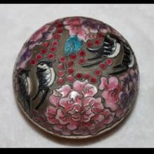 Chinese Cloisonne Round Trinket Box with Beautiful Flower and Bird Motif