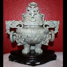 Qing Dynasty Jadeite Vessel with Cover - Fu dogs with Qilin Handle