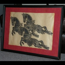 Thai Temple Rubbing of 3 Horses on rice paper in Black
