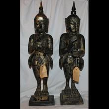 Thai Wood Gilt Carved Kinnari Guardians