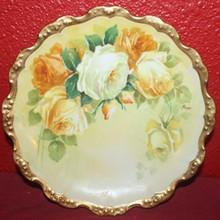 Antique Limoges Coronet Gold Rimmed Plate, Rose Design-SIGNED