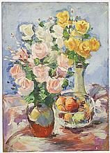 Leon Abramowicz - Bouquet of roses with fruit bowl, oil on paper