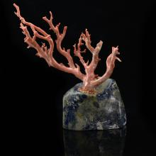 Vintage Natural Coral Branch w/Lapis Lazuli Base