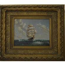 Golden Relief Framed Sailing Ship Oil Painting