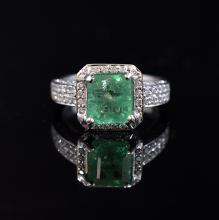 Columbia Emerald 18k White Gold Diamonds Ring