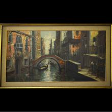 Framed Vienna Street View Oil Painting