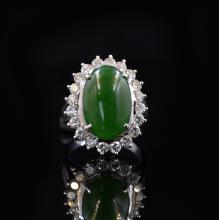GIA Certified Imperial Jadeite 14k White Gold Ring
