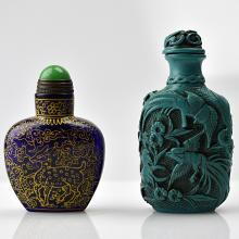 Green Glazed Snuff Bottle + Marked Blue Liuli Snuff Bottle