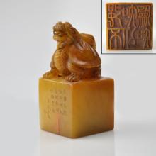 Shoushan Stone Carved Dragon-Turtle Seal