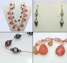 Color Pearl Necklace + Pair of Color Pearl Earrings + Pink Crystal Necklace