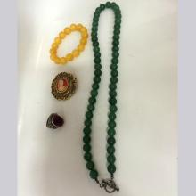 Jade Bead Necklace + Royal Amber Bead Bracelet + Micro-Engraved Brooch + Ruby Silver Ring