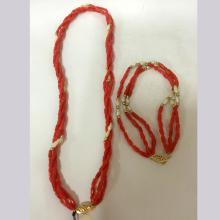 Coral Bead Rice Pearl Bracelet & Necklace