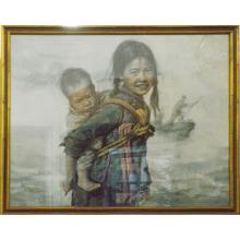Framed Fisher Girl w/Baby Oil Painting (Signed by Wu Qi Feng)