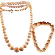 Coral Bead Necklace + Coral Barrel Bead Bracelet