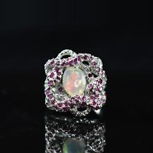 Austria Opal with Ruby Ring