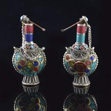 Pair of Vintage Tibetan Style Copper Snuff Bottles