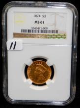 1874 $3 PRINCESS GOLD COIN - NGC MS61