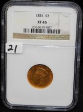 EARLY 1854 $3 PRINCESS GOLD COIN - NGC XF45
