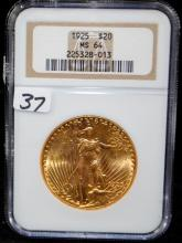 1925 $20 ST. GAUDENS GOLD  COIN - NGC MS64