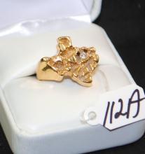 MEN'S 14K YELLOW GOLD CUSTOM MADE NUGGET RING