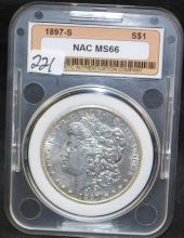 1897-S MORGAN DOLLAR - NAC MS66