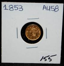EARLY 1853 $1 TYPE 1 GOLD COIN FROM SAFE DEPOSIT