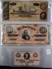 3 CONFEDERATE NOTES - $50, $20 & .50 FRACTIONAL
