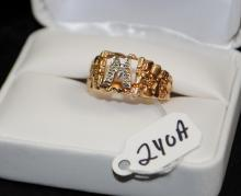MEN'S 10K YELLOW GOLD  NUGGET STYLE FASHION RING