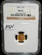 EARLY 1853 $1 GOLD COIN - NG MS62 (CURRENT COIN WORLD TRENDS LISTS AN MS62 @ $725.00)