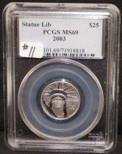 2003 $25 (1/4 OZ) STATUE OF LIBERTY PLATINUM COIN