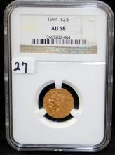 1914 $2 1/2 INDIAN GOLD COIN - NGC AU58