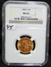 1884-S $5 LIBERTY GOLD COIN - NGC MS62