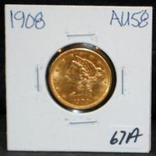 1908 $5 LIBERTY GOLD COIN FROM SAFE DEPOSIT - SELLER GRADES AT AU58 (THE CURRENT COIN WORLD TRENDS LISTS AN AU58 AT $575.00)