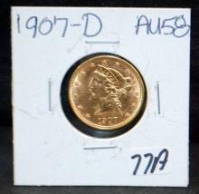 1907-D $5 LIBERTY GOLD COIN FROM SAFE DEPOSIT - SELLER GRADES AT AU58 (THE CURRENT COIN WORLD TRENDS LISTS AN AU58 AT $500.00)