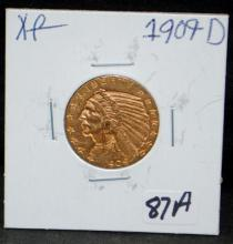 1909-D $5 INDIAN GOLD COIN FROM SAFE DEPOSIT - SELLER GRADES AT XF (THE CURRENT COIN WORLD TRENDS LISTS AN XF40 AT $450.00)