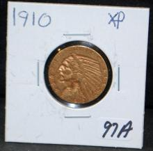 1910 $5 INDIAN GOLD COIN FROM SAFE DEPOSIT - SELLER GRADES AT XF (THE CURRENT COIN WORLD TRENDS LISTS AN XF40 AT $450.00)