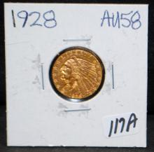 1928 $2 1/2 INDIAN GOLD COIN FROM SAFE DEPOSIT - SELLER GRADES AT AU58 (THE CURRENT COIN WORLD TRENDS LISTS AN AU58 AT $375.00)