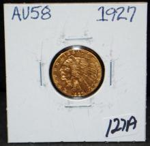 1927 $2 1/2 INDIAN GOLD COIN FROM SAFE DEPOSIT - SELLER GRADES AT AU58 (THE CURRENT COIN WORLD TRENDS LISTS AN AU58 AT $375.00)