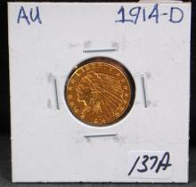 1914-D $2 1/2 INDIAN GOLD COIN FROM SAFE DEPOSIT - SELLER GRADES AT AU (THE CURRENT COIN WORLD TRENDS LISTS AN AU50  AT $325.00 AND AN AU58 AT $375.00)