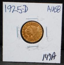 1925-D $2 1/2 INDIAN GOLD COIN FROM SAFE DEPOSIT - SELLER GRADES AT AU58 (THE CURRENT COIN WORLD TRENDS LISTS AN AU58 AT $375.00)
