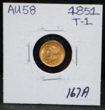 1851 $1 TYPE 1 LIBERTY GOLD COIN FROM SAFE DEPOSIT - SELLER GRADES AT AU58 (THE CURRENT COIN WORLD TRENDS LISTS AN AU58 AT $350.00)