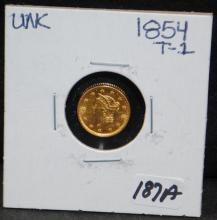 1854 $1 TYPE 1 LIBERTY GOLD COIN FROM SAFE DEPOSIT - SELLER GRADES AT UNCIRCULATED (THE CURRENT COIN WORLD TRENDS LISTS AN MS60 AT $425.00)