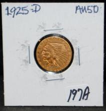 1925-D $2 1/2 INDIAN GOLD COIN FROM SAFE DEPOSIT - SELLER GRADES AT AU50 (THE CURRENT COIN WORLD TRENDS LISTS AN AU50 AT $325.00)