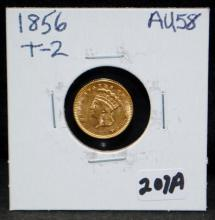 1856 $1 TYPE 2 PRINCESS GOLD COIN FROM SAFE DEPOSIT - SELLER GRADES AT AU58 (THE CURRENT COIN WORLD TRENDS LISTS AN AU58 AT $400.00)