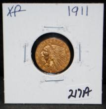 1911 $2 1/2 INDIAN GOLD COIN FROM SAFE DEPOSIT - SELLER GRADES AT XF (THE CURRENT COIN WORLD TRENDS LISTS A XF40 AT $310.00)