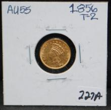 1856 $1 TYPE 2 PRINCESS GOLD COIN FROM SAFE DEPOSIT - SELLER GRADES AT AU55 (THE CURRENT COIN WORLD TRENDS LISTS AN AU50 AT $350.00 AND AN AU58 AT $400.00)